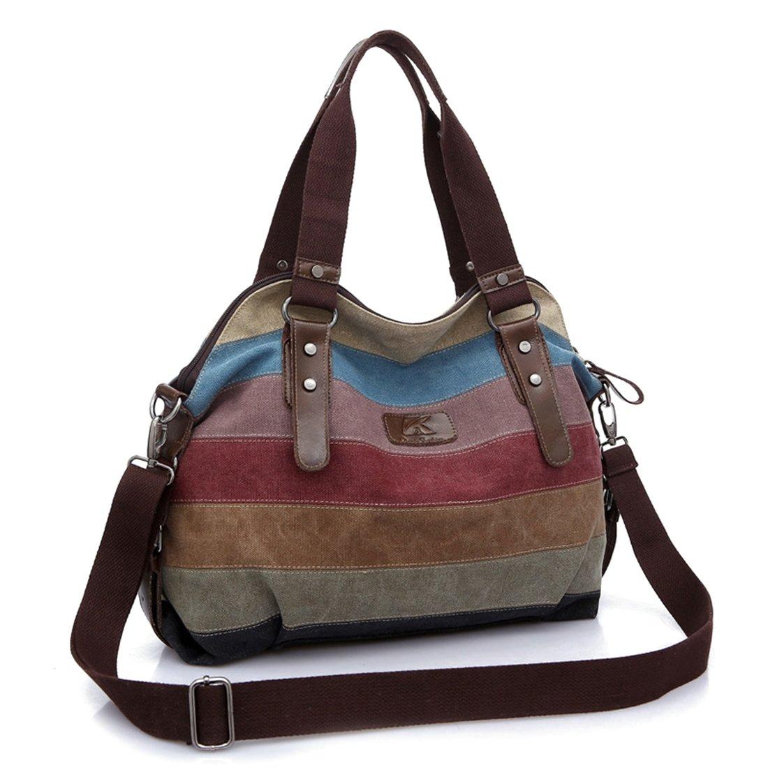 Women Work Casual Shopping Handle Shoulder Bags Canvas Totes Handbag Striped Hobos Cross Body Bag