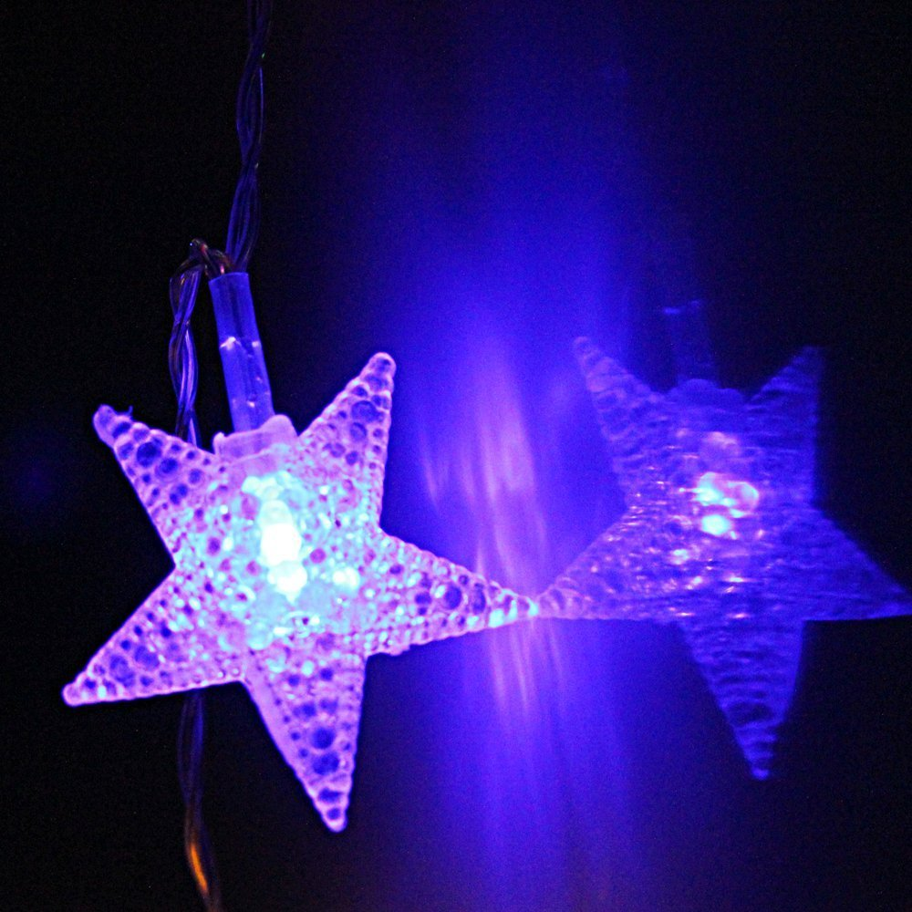 Star Battery Operated Led Christmas String Lights Rgby Light Flasher Circuit Is Controlled By Audio 2 Work Modes 73ft Length 20pcs Stars For Holiday Party