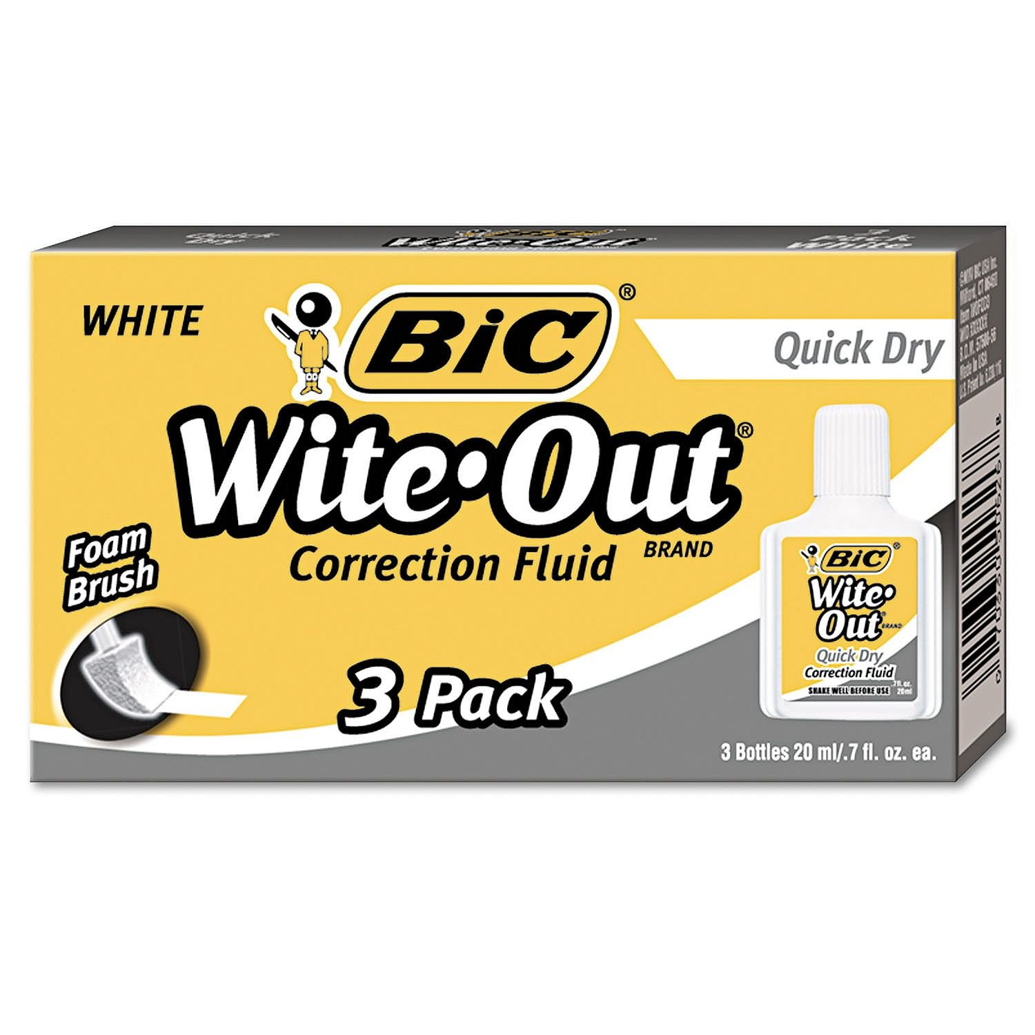 .BIC Wite-Out Quick Dry Correction Fluid, 20 ml Bottle, White, 3pk. - (Original from manufacturer - Bulk Discount available) by BIC