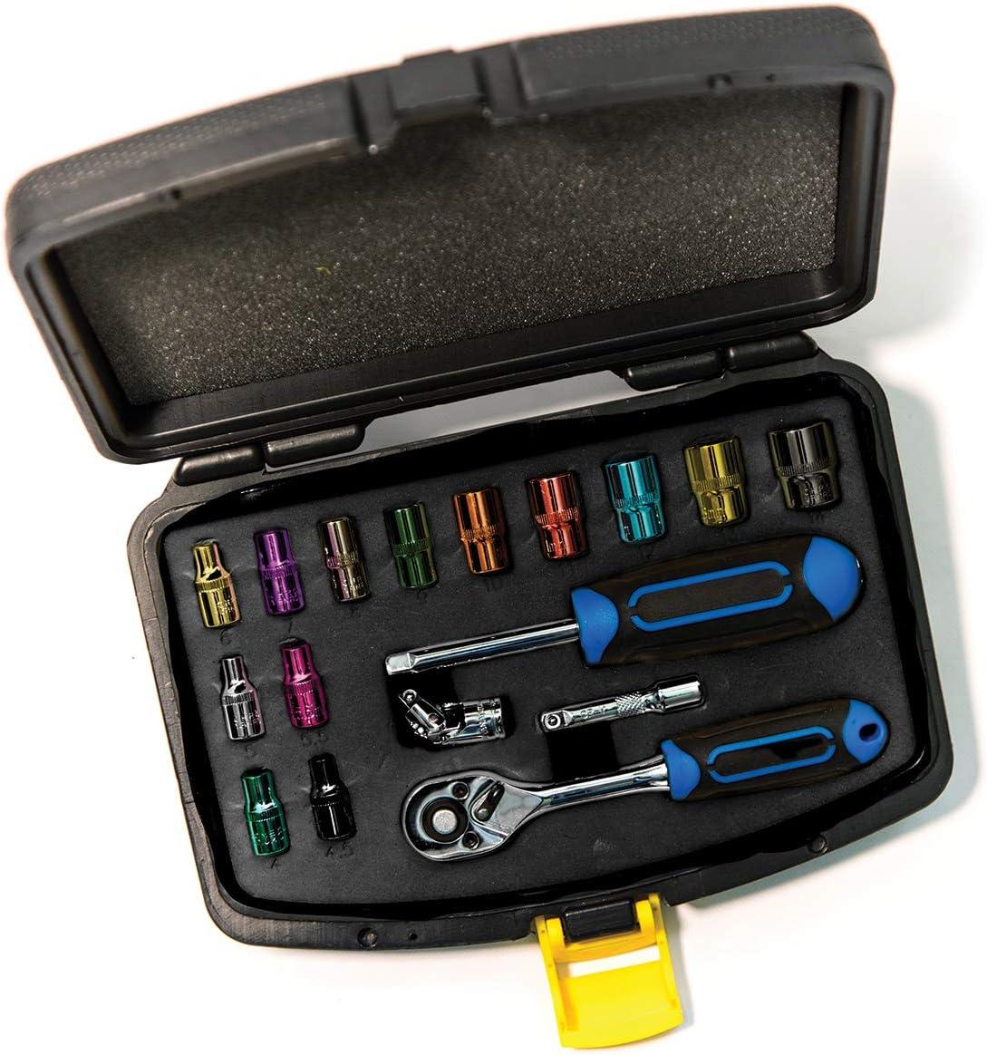 colour coded 1//4 C.K T4658 Socket Set 17-pcs