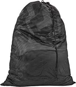 "HOMEST XL Mesh Laundry Bag 28"" x40"" with Drawstring Cord, Works as Hanging Hamper or Laundry Basket Liner for Travel, College, Dorm (Black)"