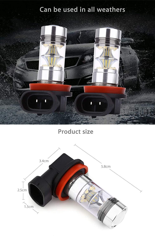 AUTVANPair of Universal Automobile H11 100W 6000K LED Fog Lamp Daytime Running Pure White Light New