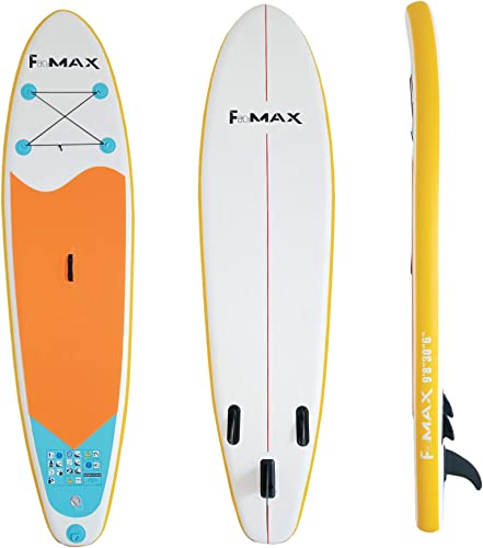 Fitmax Cloudsurfer 9 Inflatable Stand Up Paddle Board Extra Wide Design with Triple Bottom Fins for Superior Stability Includes Backpack for Easy Carrying and Storage.