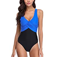 CharmLeaks Women Retro Tummy Control One Piece Swimming Costume Padded Colorblock Swimsuits