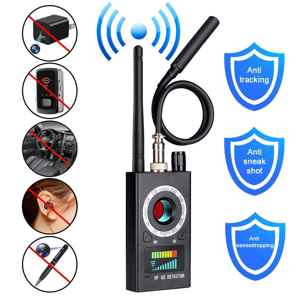 Anti Spy Camera Detector Wireless RF Bug Detector Signal for Hidden Camer Lens GSM Listening Device Finder Radar Radio Scanner Wireless Signal Alarm RF Detector