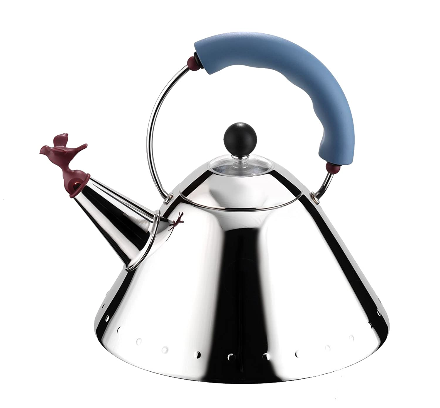 amazoncom alessi michael graves kettle with bird whistle blue . amazoncom alessi michael graves kettle with bird whistle blue handleall clad tea kettle kitchen  dining