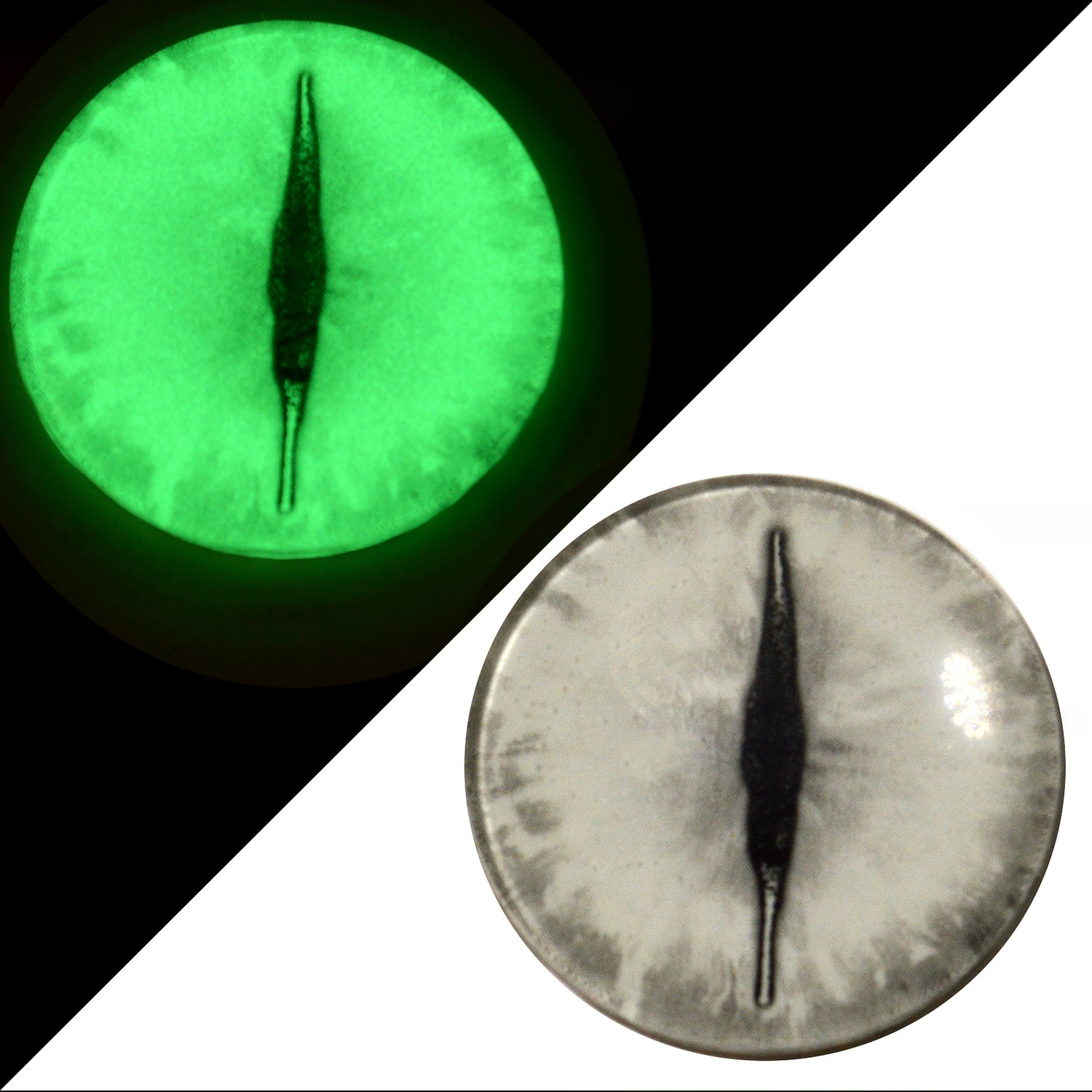30mm Glow in the Dark Dragon Eyes - Glass Eyes Pair - Peel and Stick Adhesive Backing - For Art Dolls, Jewelry Making, Taxidermy, Scrapbooking, and More