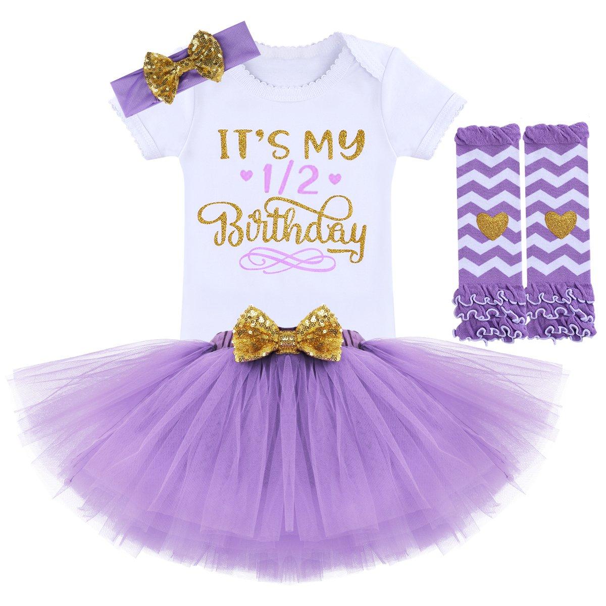 FYMNSI Baby Girls It's My 1st/2nd Birthday Cake Smash Romper+Skirt+Headband+Leggings