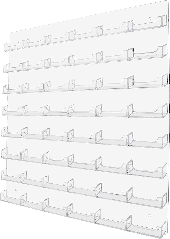 Marketing Holders Multi Pocket Wall Mount Business Card Holder Rack (48 Pocket, Clear)