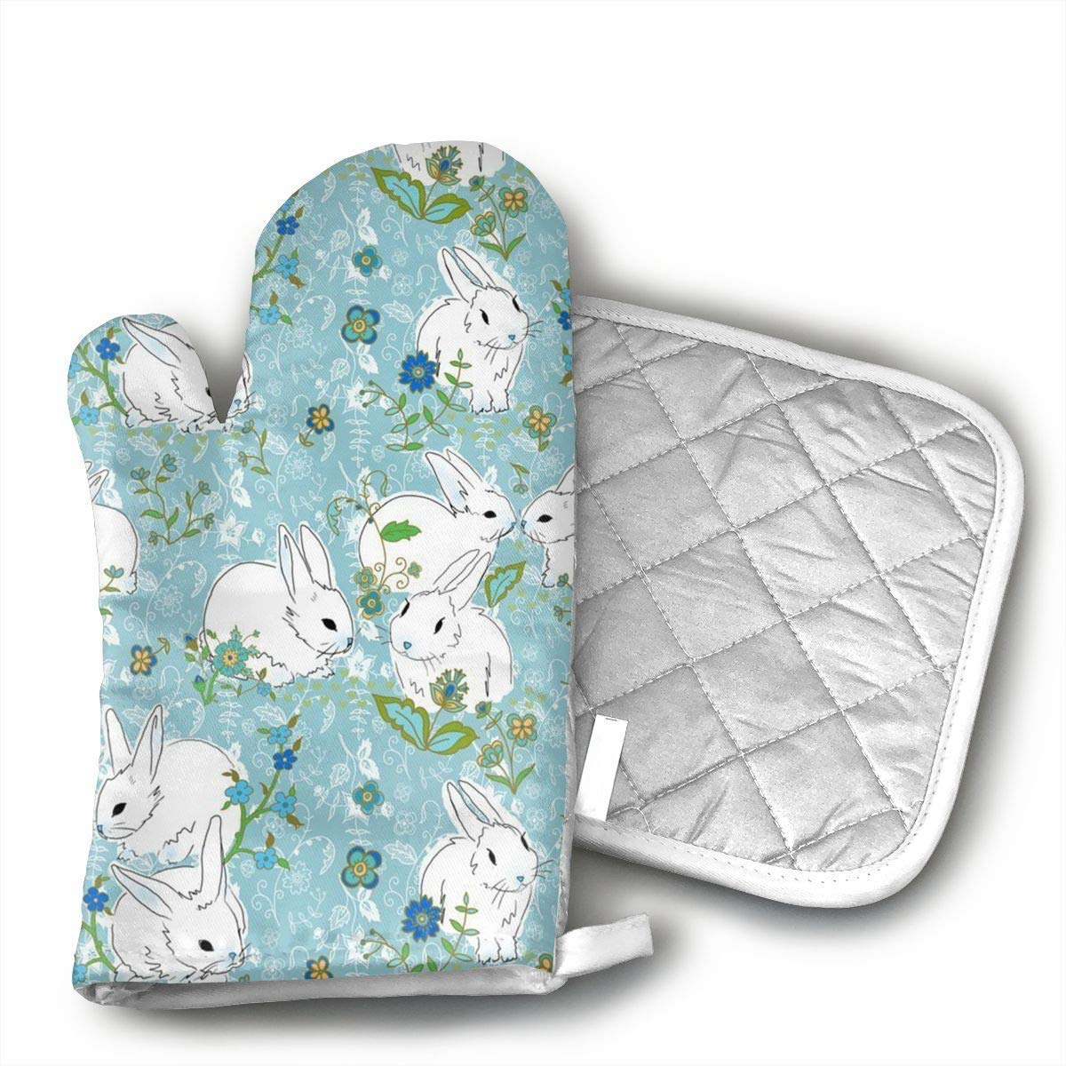 NoveltyGloves Pot Holders and Oven Mitts 1 Hot Pads and 1 Potholders Set with Love Bunny Rabbit Print
