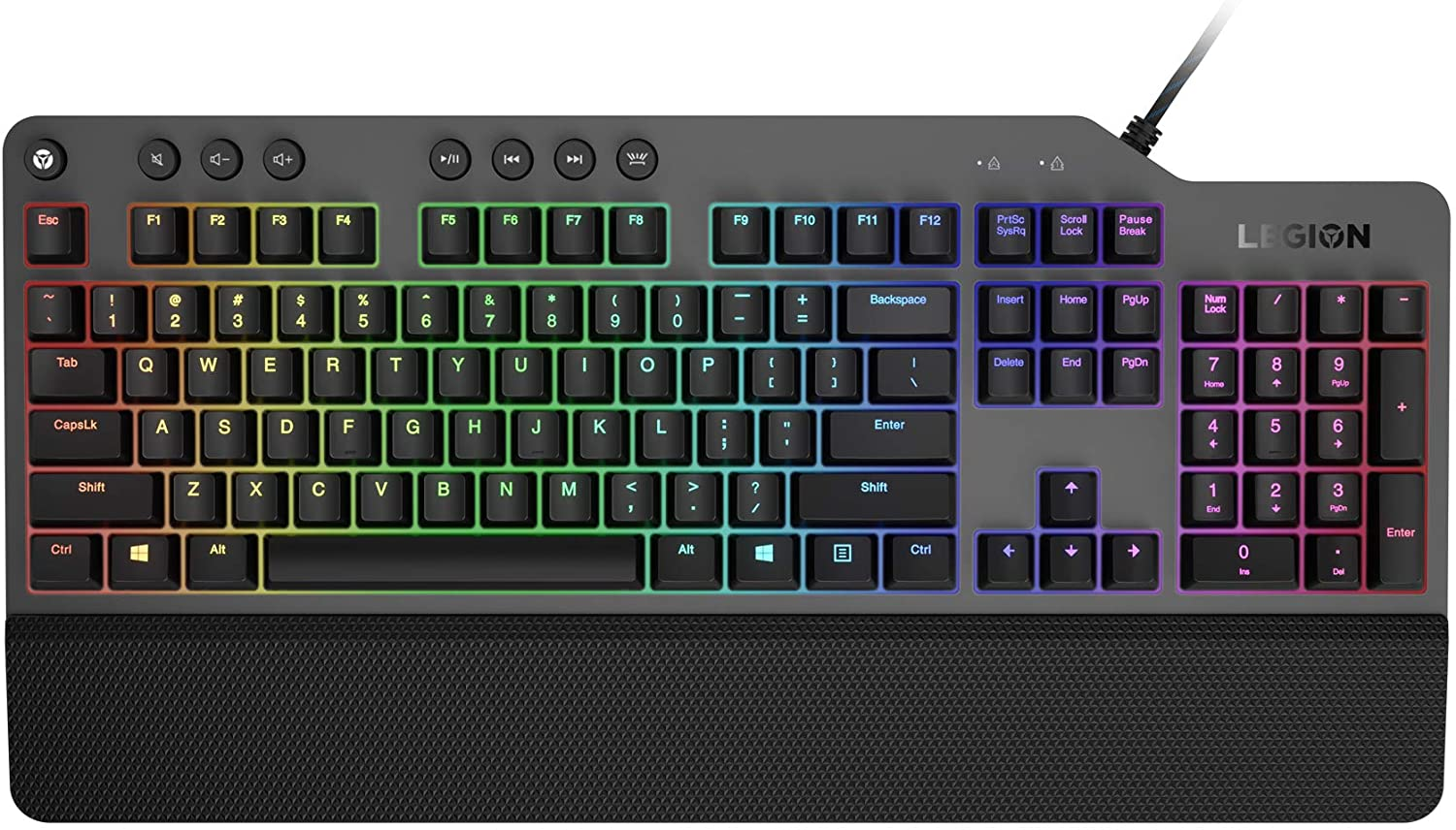 Lenovo GY40T26478 Legion K500 RGB Mechanical Gaming Keyboard, 3 Zone Full-Size Keyboard, 7 User Programmable Hot Keys; 16.8 Million Colors, 50 Million-Click Red Mechanical Keys, Detachable Palm Rest