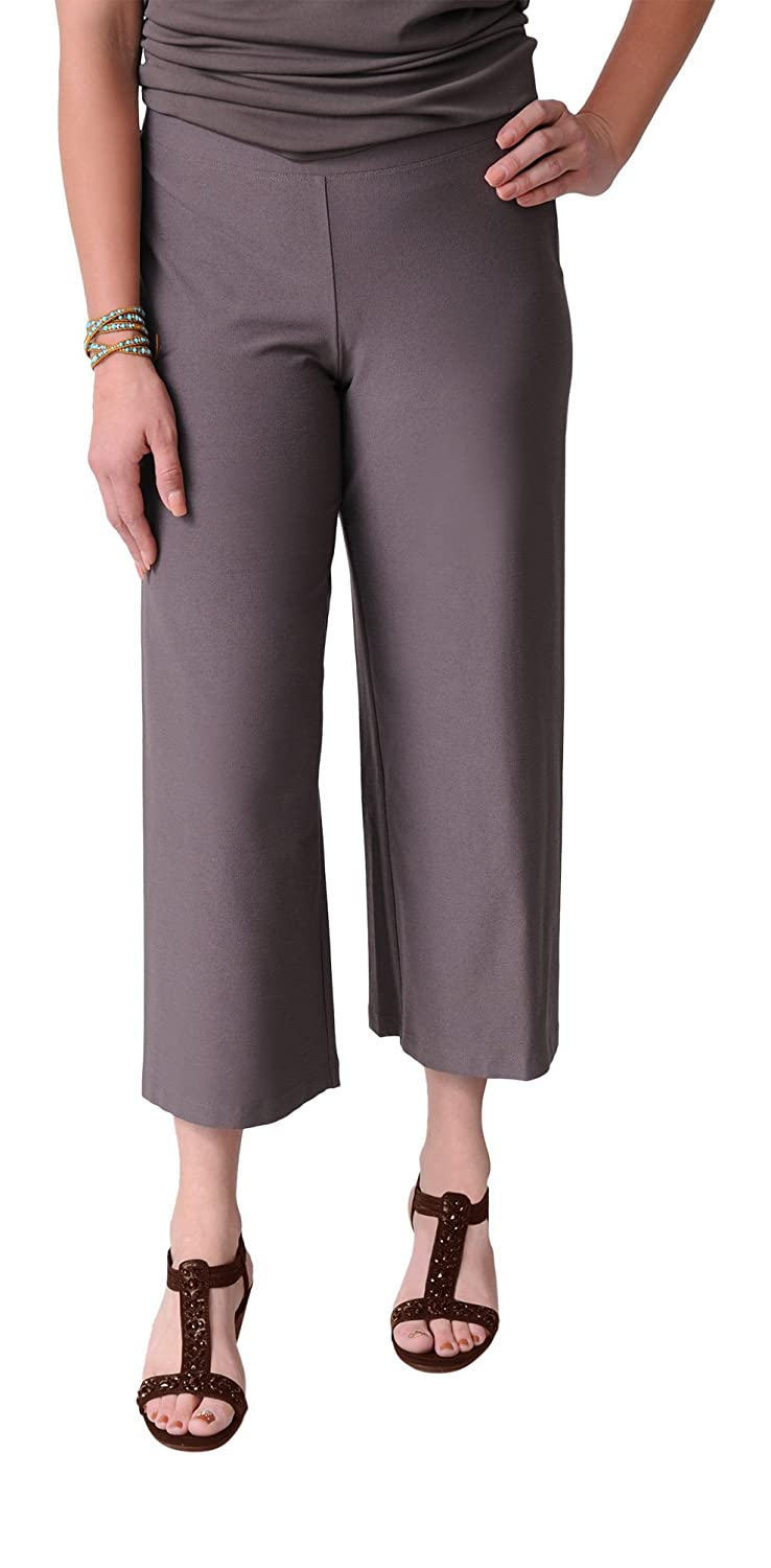 Eileen Fisher Wide Leg Cropped Pant In Washable Stretch Crepe