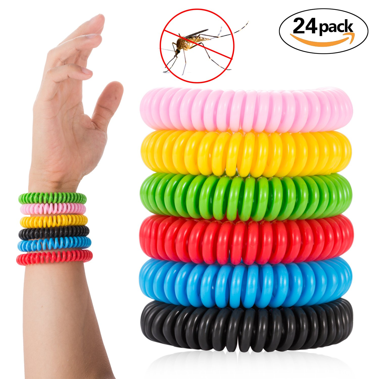 Wilvhome Mosquito Repellent Bracelet For Kids, Adults & Pets - Travel Insect Repellent Design For Maximum Protection Against Bugs, Pests, Waterproof - 24 Pack