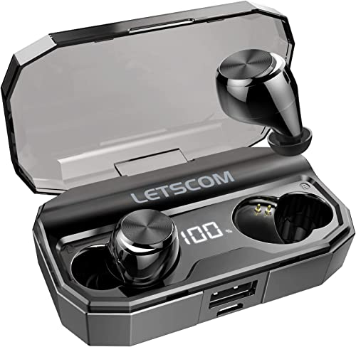 Wireless Earbuds, Letscom 80 Hrs Playtime, IPX6 Waterproof Headphones with Wireless Charging Case, Bluetooth 5.0 HD Stereo Built-in Mic in-Ear Sports Earphones for Running Gym Home Office