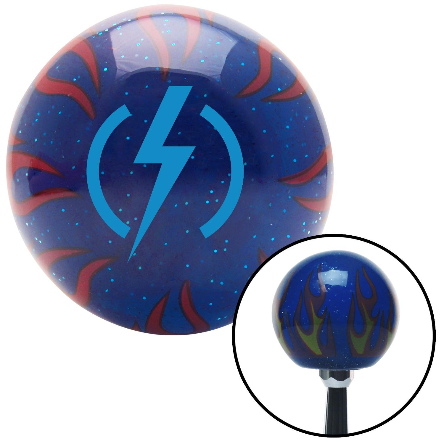 American Shifter 244101 Blue Flame Metal Flake Shift Knob with M16 x 1.5 Insert Blue Bolt