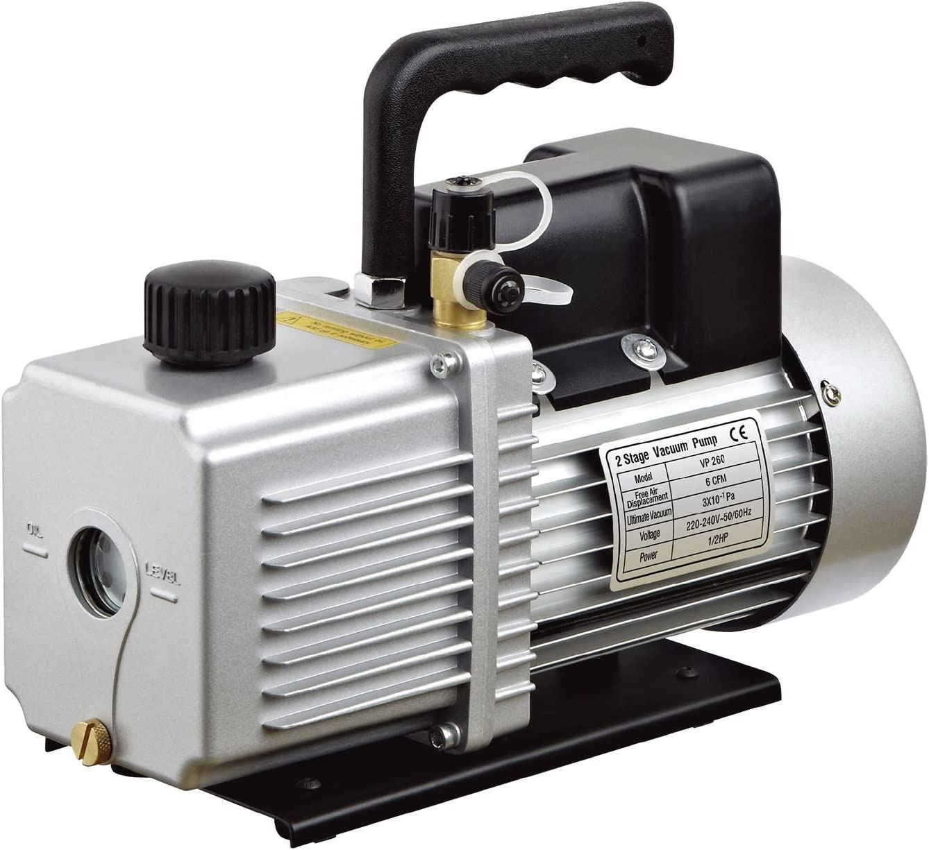 "HFS (R Vacuum Pump Double Stage 6 CFM ; 110V/60HZ ; Inlet: SAE 1/4""-3/8"" SAE; Ultimate Vacuum: 310-1PA; 1/2 HP"