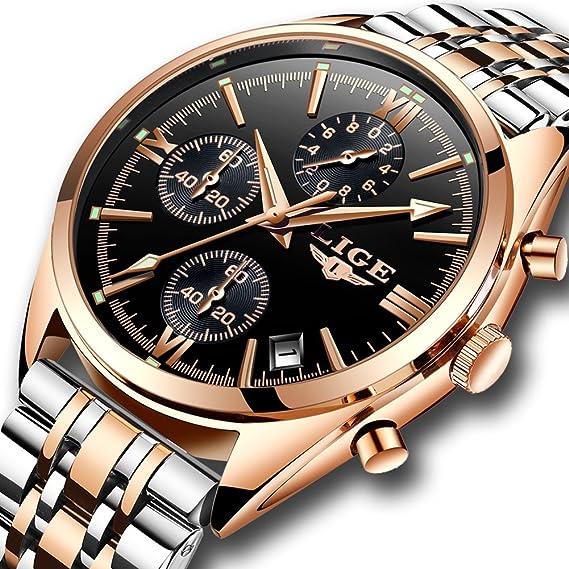 Relojes para hombres,LIGE Acero Inoxidable impermeable Deportes Analógico de Cuarzo reloj Calendario Negocios Casual lujo Relojes de pulsera oro rosa negro: ...