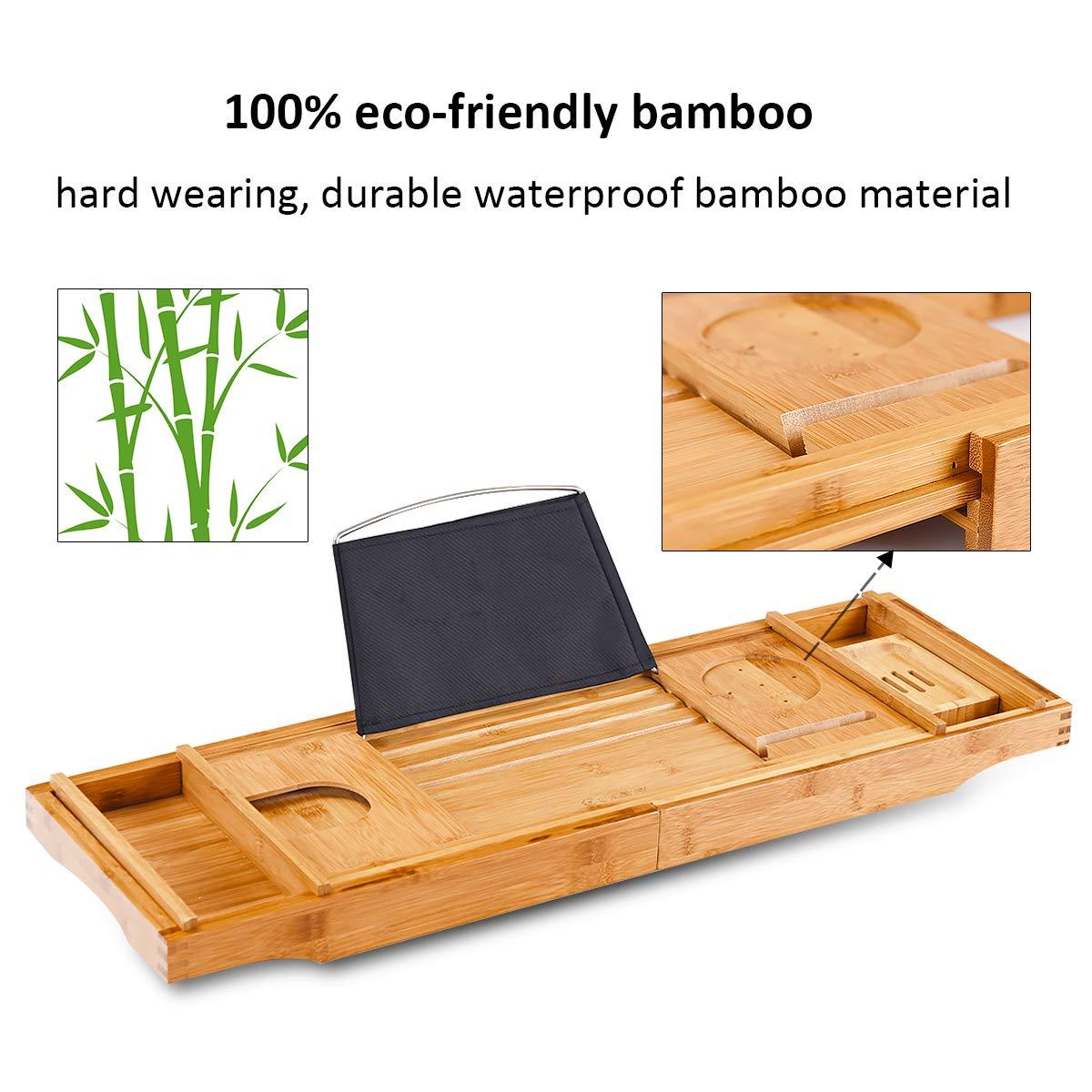 Giantex Bamboo Bathtub Tray W//Extending Sides Premium Luxury Tray Organizer for Phone and Wineglass Adjustable Book Holder Bathtub Caddy Tray