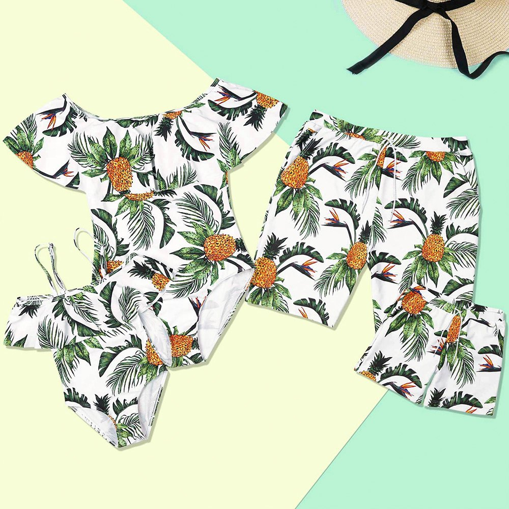 PatPat Mommy and Me Swimsuit One Piece Pineapple Printed Family Matching Swimwear Men: XL