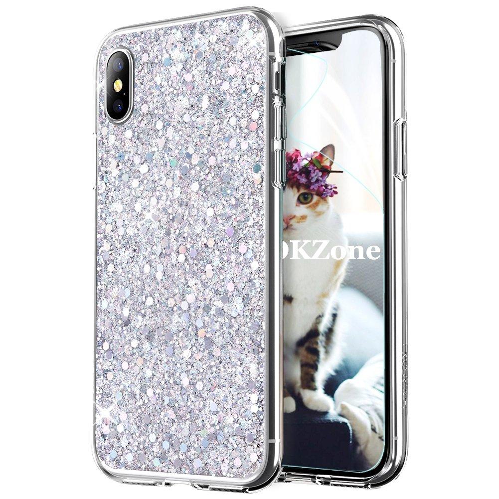 Coque iPhone XS, OKZone Mince É tui en silicone souple Paillette Strass Brillante Bling Bling Glitter de Luxe, Flexible Plein-Corps TPU Housse Etui de Protection pour Apple iPhone XS 5.8 Pouce (Argent) OKZ-DF-SSK-TPU-0929006