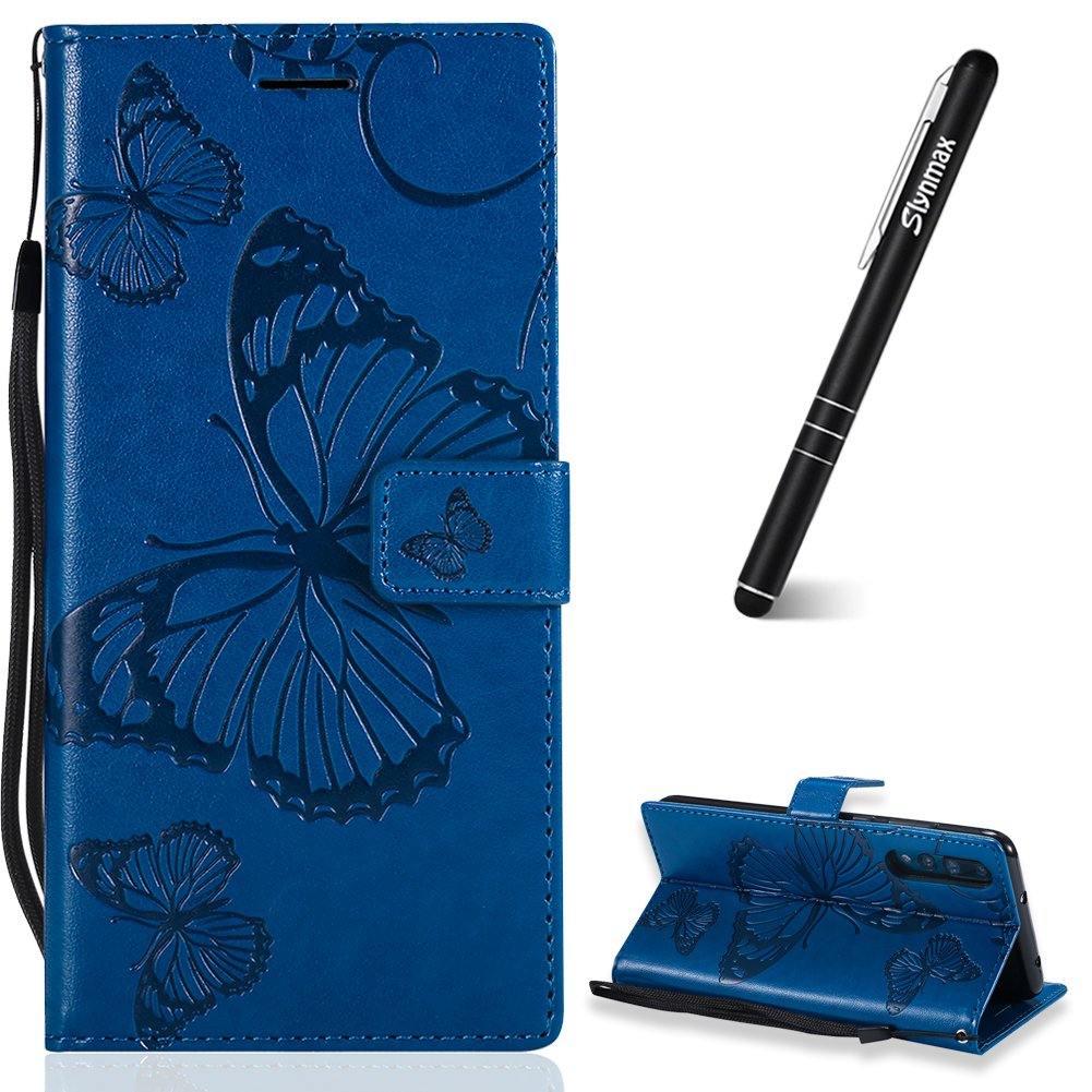 Huawei P20 Pro Leder Hü lle, Slynmax 3D Geprä gtes Schmetterlings Holster Flip Wallet Cover Case Leder Tasche fü r Huawei P20 Pro Flip Cover Handyhü lle Bookstyle mit Magnet Kartenfä cher Standfunktion, Gelb
