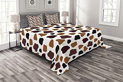 9260bd41eed4c Amazon.com: Ambesonne Cow Print Bedspread Set Queen Size, Cow Skin ...