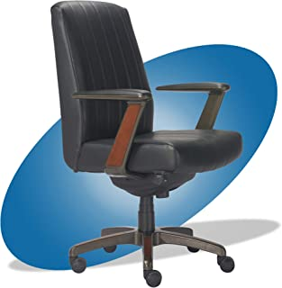 product image for La-Z-Boy Bennett Modern Executive Lumbar Support, Rich Wood Inlay, High-Back Ergonomic Office Chair, Bonded Leather, Black
