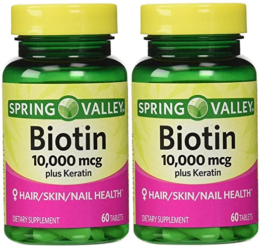 Amazon.com: Spring Valley Biotin Dietary Supplement, 10,000 Mg With 100 Mg  Keratin, 60 Tablets: Health & Personal Care