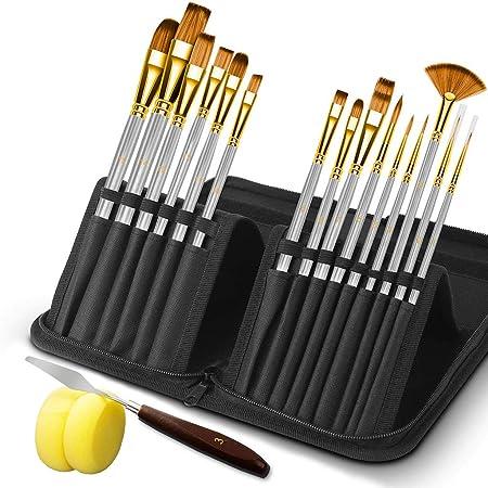 Hbsite Juego de pinceles para pintura acrílica 15 piezas con espátula y dos esponjas Pinceles de nailon profesionales para pintar con pintura acrílica al óleo (plata): Amazon.es: Hogar
