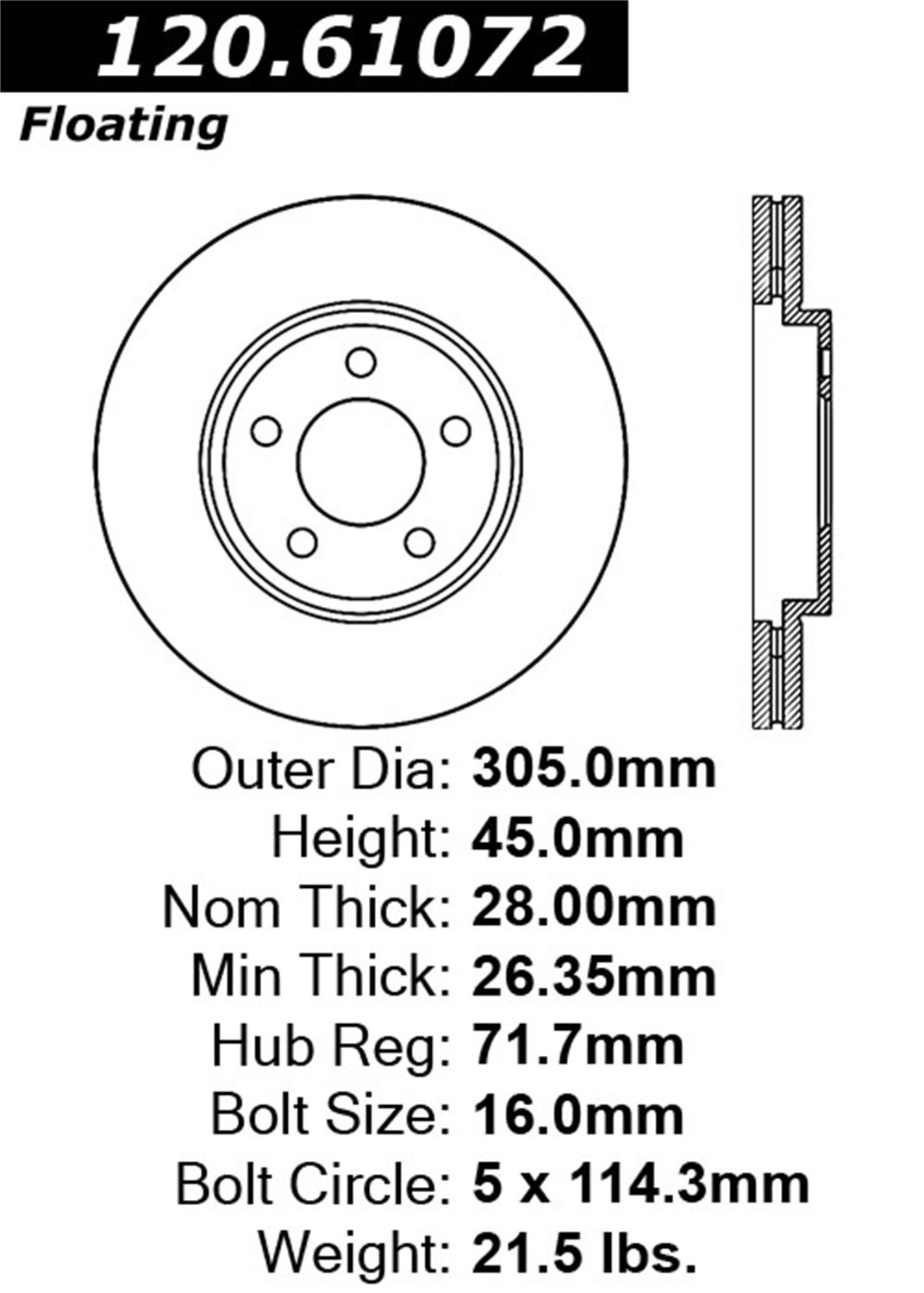 StopTech 128.61072L Sport Cross Drilled Brake Rotor 1 Pack Front Left