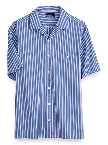 Vintage Shirts – Mens – Retro Shirts Paul Fredrick Mens Cotton Stripe Short Sleeve Casual Shirt Blue/Pink $85.00 AT vintagedancer.com