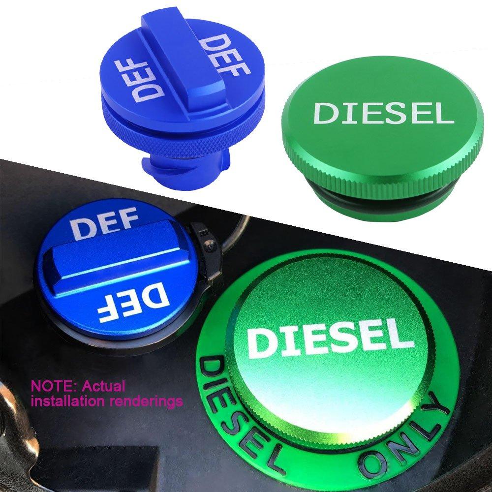 JDMCAR Replacement for Dodge Ram Cummins 2013-2017, Combo Diesel Magnetic Billet Aluminum Fuel Green Cap DEF Blue Cap