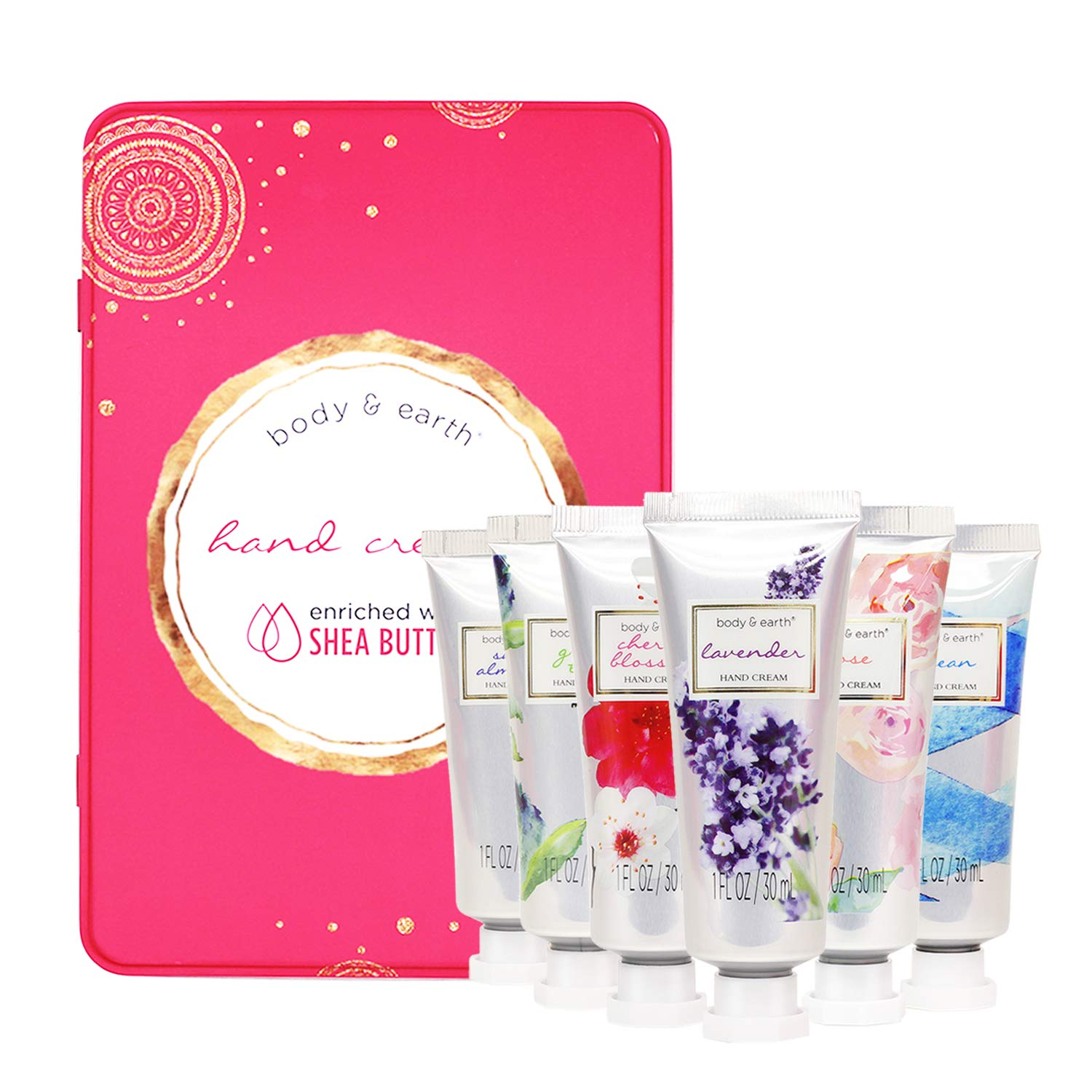 Hand Cream Gift Set, Body & Earth Luxurious Hand Lotion Set Deeply Moisturizing for Rough Hands, Enriched with Shea Butter and Glycerin, 6 Pcs Travel size (6x1.0 oz), Best Gift Ideas for Women