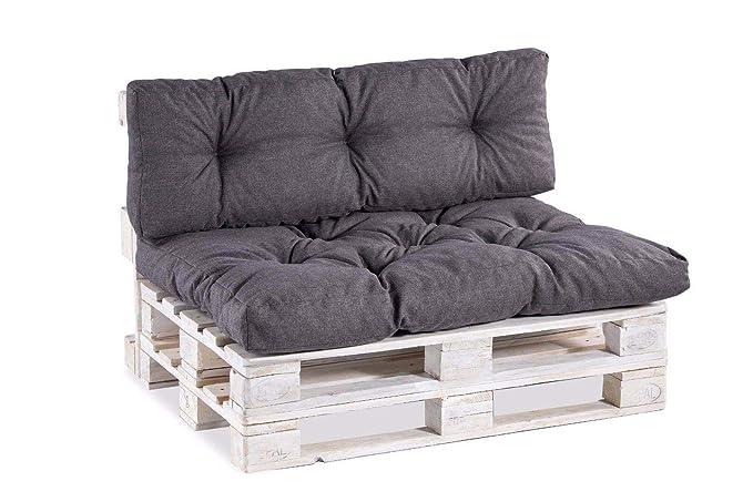 Palettenkissen Palettenauflagen Sitzkissen Rückenlehne Gesteppt (Sitzkissen 120x60 Gesteppt, Anthrazit)