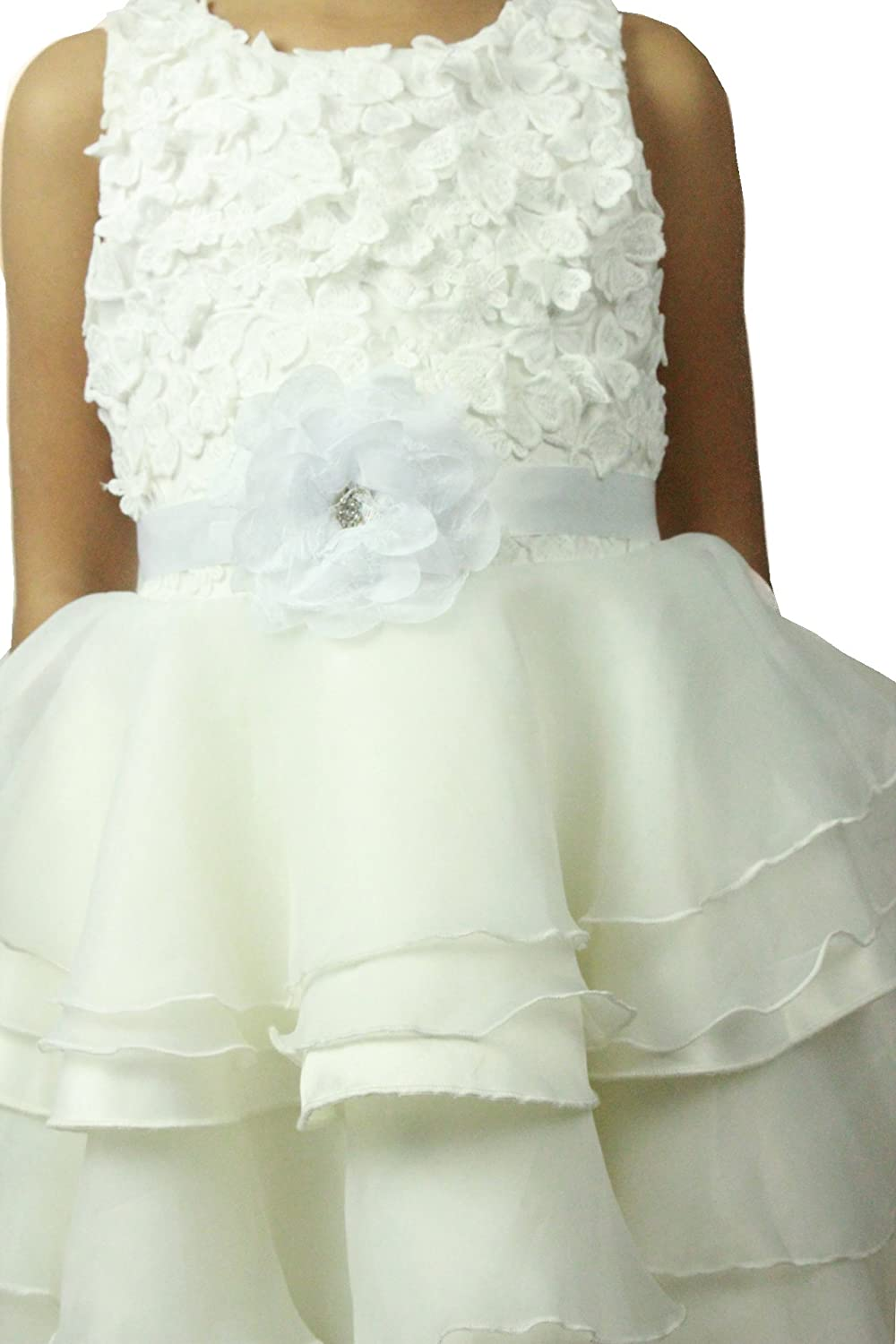 Cute one big flowers girls dress sash flowergirls sash (White) Lemandy