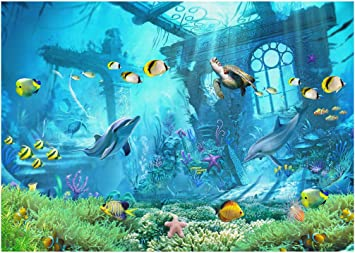 7x5ft Dolphins Swimming in The Blue Sea Aerial View Polyester Photography Background Marine Theme Backdrop Child Kids Baby Adult Portrait Shoot Safari Party Wallpaper Studio