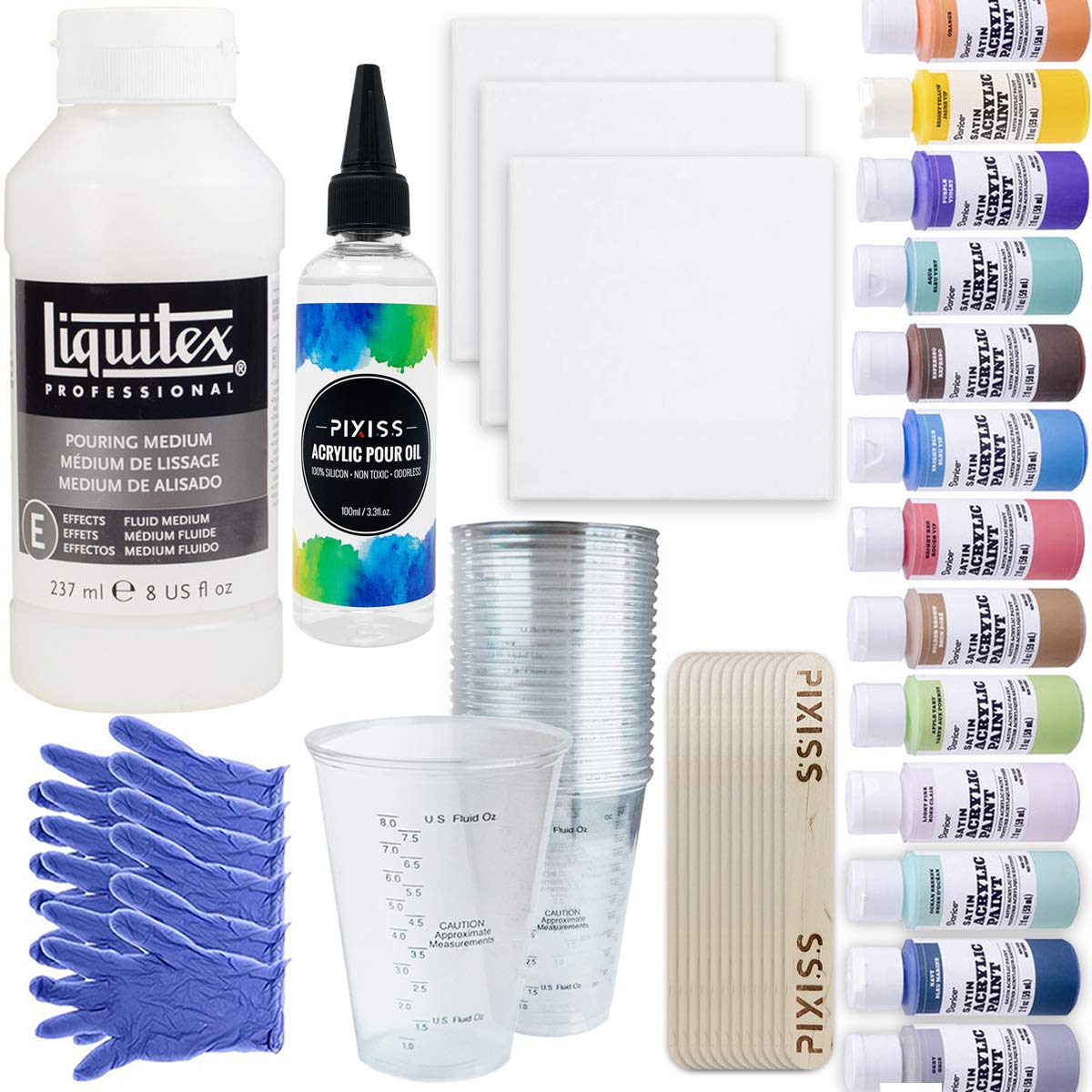 Pouring Bundle - Liquitex Pouring Medium 8-Ounce, Cups, 16x 2-Ounce Acrylic Paints, 3X 5-inch Canvases, Pixiss Acrylic Pouring Oil, Mixing Sticks, Gloves, Complete Kit for Paint Pouring by GrandProducts