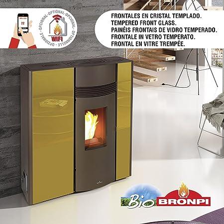 ESTUFA PELLET BRONPI EXTRAPLANA CANALIZABLE MODELO OLIVIA EXTRA 13 KW: Amazon.es: Bricolaje y herramientas
