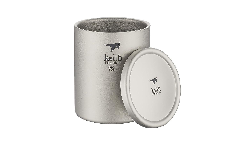 Keithチタンti3342 double-wall Mug with Lid -15.2 FL OZ   B06XTYLX74