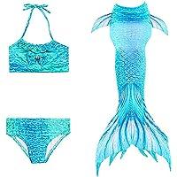 DNFUN Sjöjungfrubaddräkt för barn, flickor 3 st simbar bikini baddräkt ingår