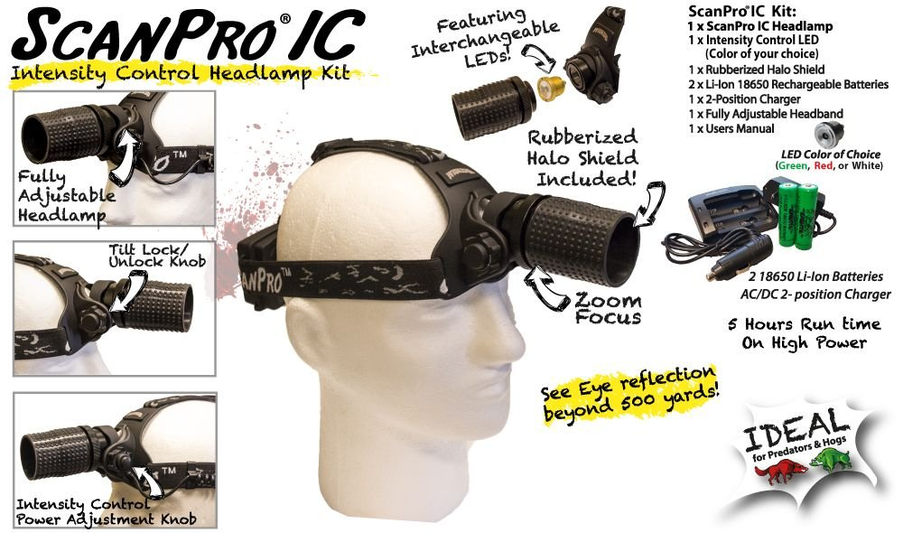 Wicked Lights ScanPro IC Night Hunting Headlamp with GREEN Intensity Control LED for coyote, predator, and hog hunting