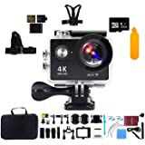 "Action Camera 4K WiFi with 32G Micro SD Card, Kebo 2.0"" LCD Screen Ultra HD Waterproof Sport Camera with 170 Wide-Angle Lens, Full Accessories Kits and Waterproof Case - Black"