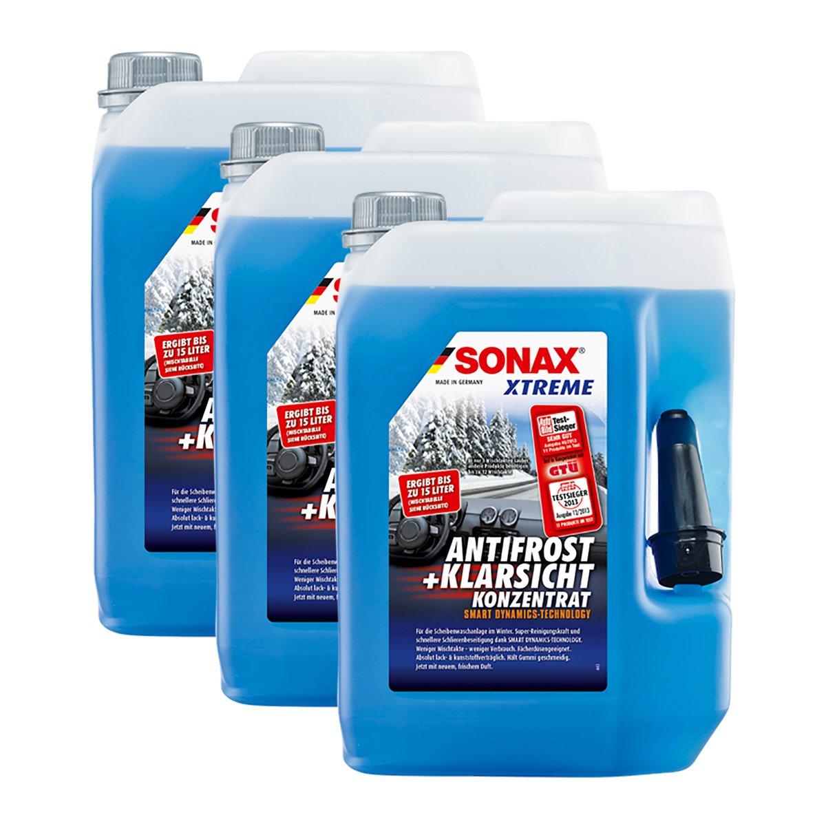 Sonax, 02325050 Xtreme, Liquido antigelo concentrato per cristalli auto con effetto anti-alone, 5 litri, 3 pezzi. 02325050Xtreme