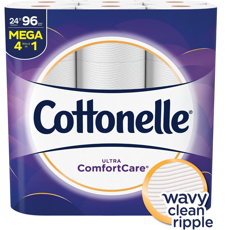 Cottonelle Ultra ComfortCare Toilet Paper, Soft Bath Tissue, Septic-Safe, 24 Mega Rolls by Cottonelle (Image #1)