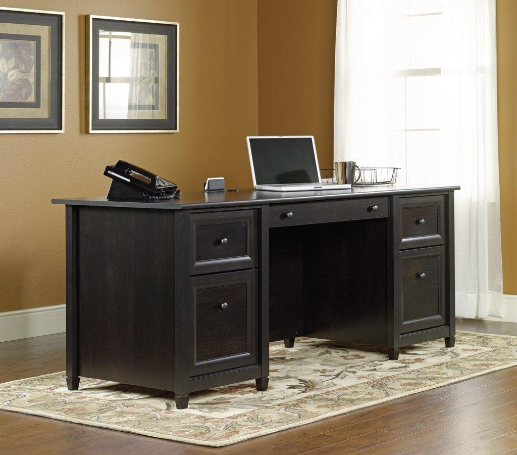 Amazoncom Sauder Edge Water Executive Desk Estate Black Finish
