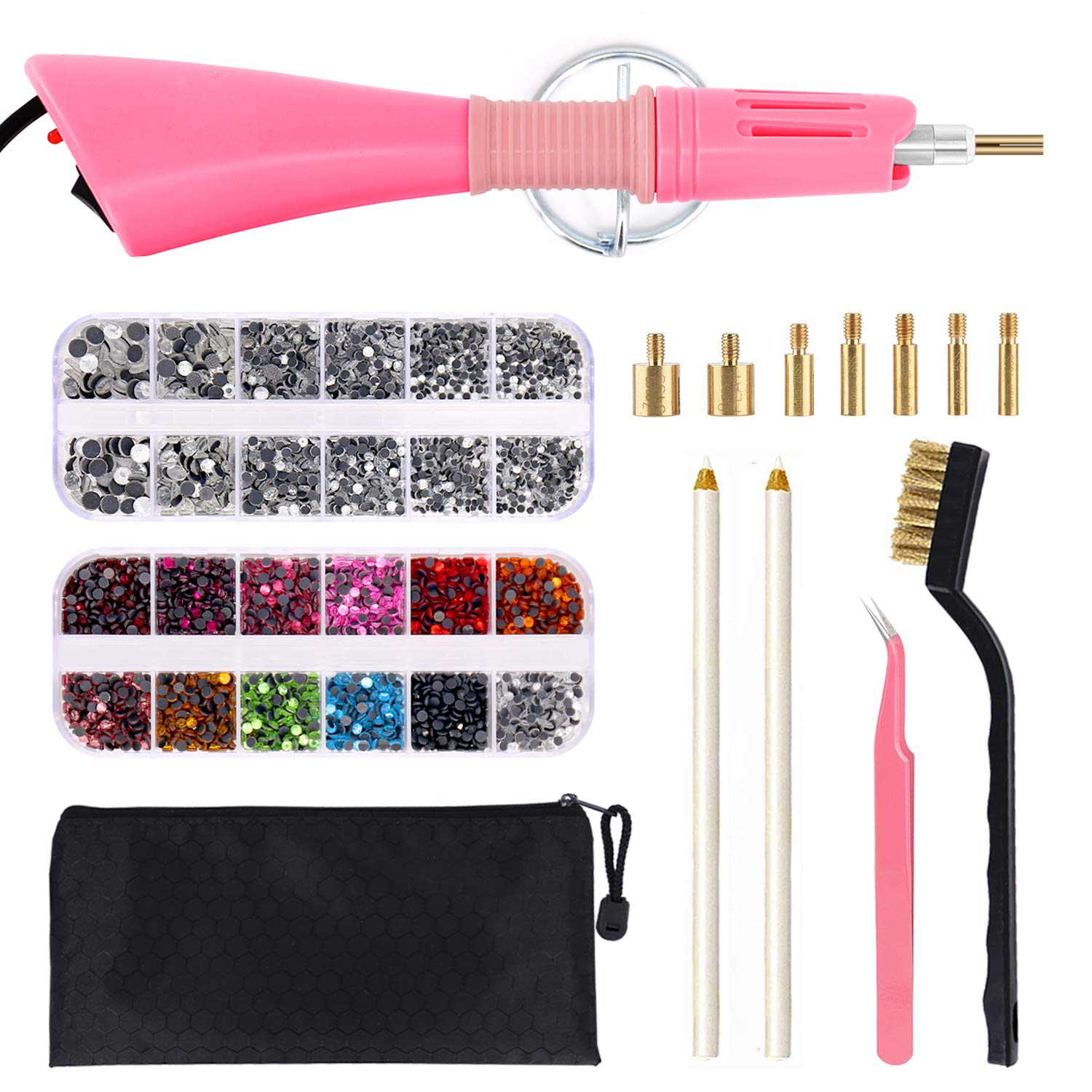 Hotfix Applicator, DIY Hot Fix Rhinestone Applicator Wand Setter Tool Kit with 7 Different Sizes Tips, Tweezers & Brush Cleaning kit and 2 Pack Hot-Fix Crystal Rhinestones by WAMTHUS