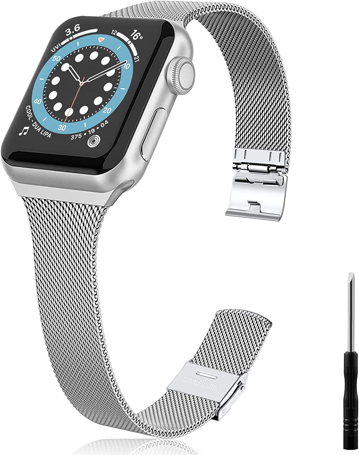Vcegari Metal Band Compatible with Apple Watch 38mm 40mm Women Men, Slim Narrow Stainless Steel Replacement Wristband Ajustable Strap for iWatch SE & Series 6 5 4 3 2 1, Silver