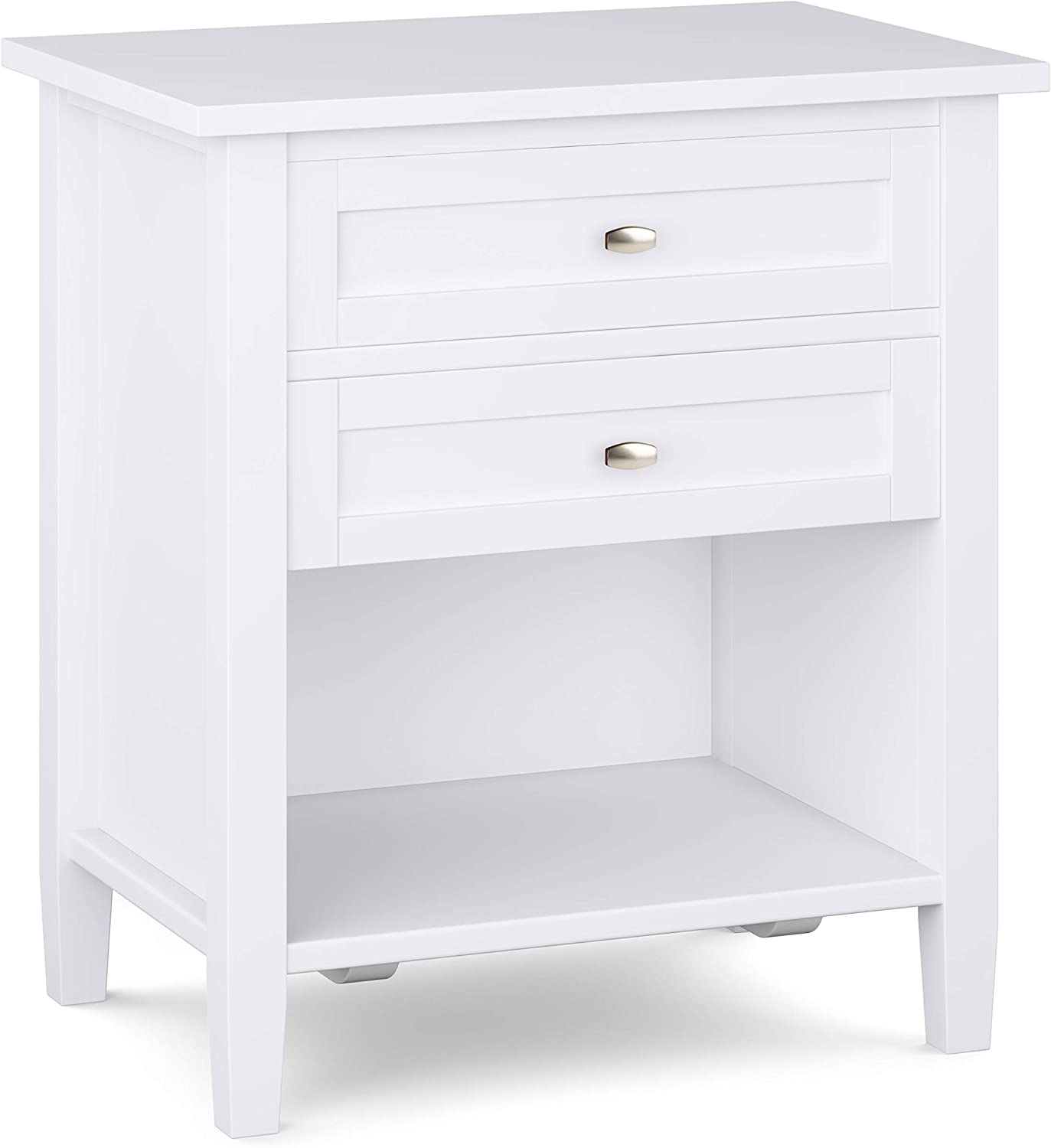SIMPLIHOME Warm Shaker SOLID WOOD 24 inch Wide Rustic Bedside Nightstand Table in White