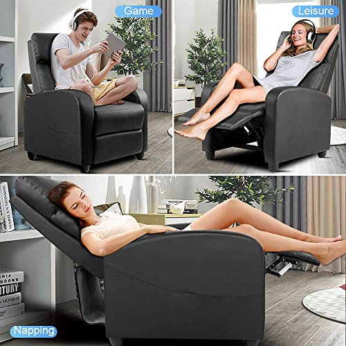 Recliner Chair, Arm Chair for Living Room Recliner Sofa Winback Single Sofa Home Theater Seating Modern Reading Reclining Chair Easy Lounge with PU Leather Padded Seat Backrest Black