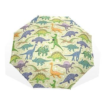 GUKENQ - Paraguas de Viaje para Dinosaurio, Ligero, antirayos UV, Paraguas de Lluvia